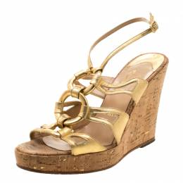 Christian Louboutin Metallic Gold Leather Ankle Strap Cork Wedge Platform Sandals Size 38 208923