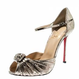 Christian Louboutin Metallic Gold Leather Marchavekel Knotted Ankle Strap Sandals Size 39.5 210638