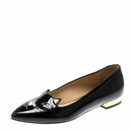 Charlotte Olympia Black Patent Leather Mid Century Kitty Ballet Flats Size 35 210490