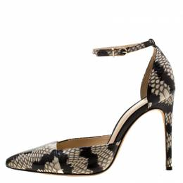 Alexandre Birman Two Tone Python Embossed Leather Ankle Strap Sandals Size 37.5 210251
