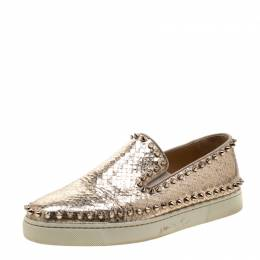 Christian Louboutin Metallic Gold Python Embossed Leather Pik Boat Slip On Sneakers Size 38.5 210255