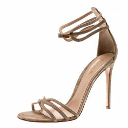 Gianvito Rossi Beige Suede Strappy Open Toe Sandals Size 41 210489