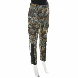 Marc By Marc Jacobs Elm Brown Ancathus Print Cotton Fitted Cargo Pants S 210487