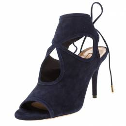 Aquazzura Black Suede Sexy Thing Tie Up Sandals Size 38 210481