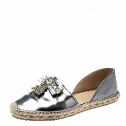 Jimmy Choo Metallic Grey Leather Crystal Embellished D'orsay Espadrille Flats Size 37 209836