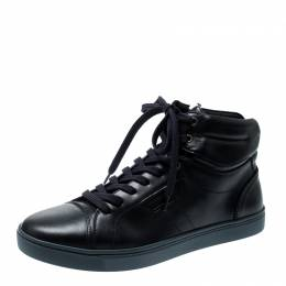 Dolce & Gabbana Navy Blue Leather High Top Sneakers Size 42 210711