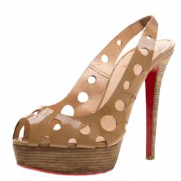 Christian Louboutin Beige Patent Leather Ginza Platform Slingback Sandals Size 38.5 210232