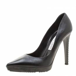 Jimmy Choo Black Leather Pointed Toe Platform Pumps Size 37.5 209251