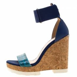 Jimmy Choo Blue Watersnake Leather Neston Ankle Strap Cork Wedge Platform Sandals Size 38.5 209255