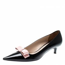 Prada Black Leather Bow Detail Pointed Toe Pumps Size 38 210137
