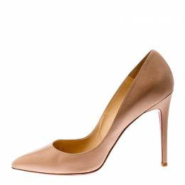 Christian Louboutin Beige Leather Pigalle Pointed Toe Pumps Size 41 210131