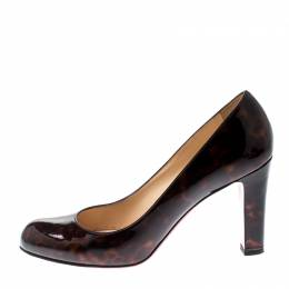 Christian Louboutin Brown Tortoise Patent Leather Miss Tack Pumps Size 37 210130