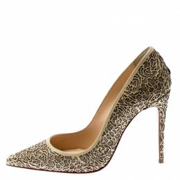 Christian Louboutin Beige Laser Cut Patent Leather And Glitter So Pretty Pointed Toe Pumps Size 36 210133