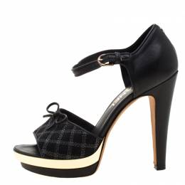 Chanel Black Leather And Canvas Bow Open Toe Platform Ankle Strap Sandals Size 37 210132