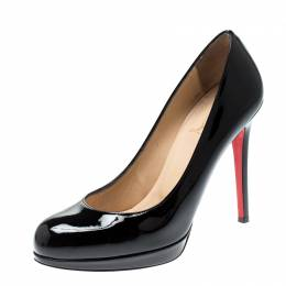 Christian Louboutin Black Patent Leather New Simple Pumps Size 37 210351