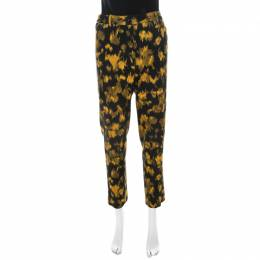 Michael Kors Black and Yellow Ikkat Print Wool Tapered Trousers M 210463
