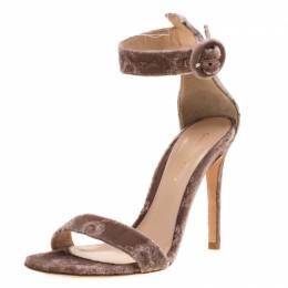 Gianvito Rossi Pale Pink Floral Embroidered Velvet Portofino Ankle Strap Sandals Size 36.5 209243