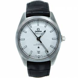 Omega White Globmeaster Automatic Open Case Men'S Watch 39MM 210691