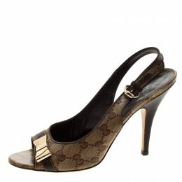 Gucci Beige/Brown GG Crystal Canvas And Leather Bow Peep Toe Slingback Sandals Size 39 208995