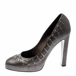 Sergio Rossi Metallic Grey Textured Leather Pumps Size 40 210615