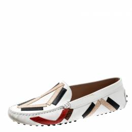 Tod's Multicolor Leather And Python Leather Trim Slip On Loafers Size 39.5 208982