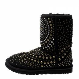Jimmy Choo x Uggs Black Studded Suede Mandah Boots Size 40 209868