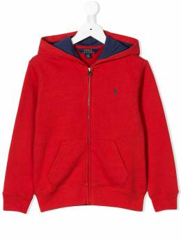 Ralph Lauren Kids - logo embroidered zip-up hoodie 36355393995656000000