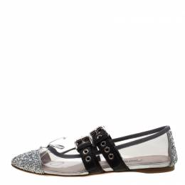 Miu Miu Metallic Silver Glitter And PVC Bow Buckle Detail Strappy Ballet Flat Sandals Size 38 210630