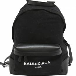 Balenciaga Black Canvas And Leather Trim Backpack 211100