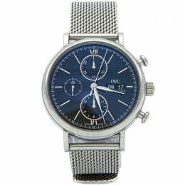 Iwc Black Mesh Stainless Steel Portofino Chronograph Men's Watch 40MM 210842