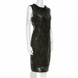 Roberto Cavalli Class Black Sequined Lace and Beaded Collar Detail Dress M 210647