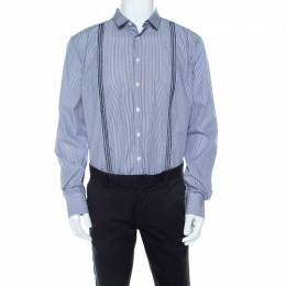 Etro Navy Blue and White Striped Pintucked Embroidered Detail Shirt L 210601