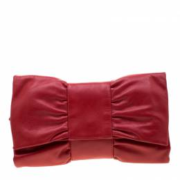 Furla Red Leather Bow Clutch 210392