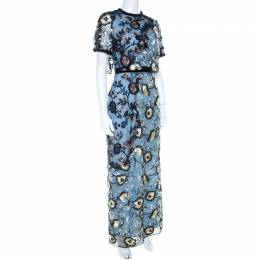 Self-portrait Blue Floral Embroidered Layered Florentine Maxi Dress S 211189