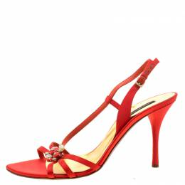 Sergio Rossi Red Satin Embellished Ankle Strap Sandals Size 41 210779