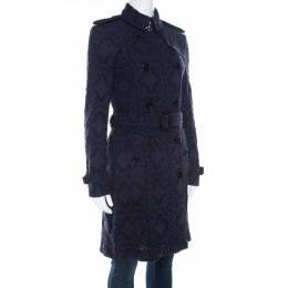 Burberry London Navy Blue Lace Double Breasted Trench Coat S 210956