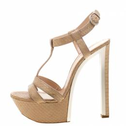Casadei Beige Python Leather T Starp Platform Sandals 39 210727