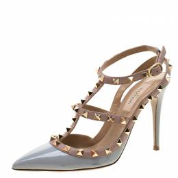 Valentino Grey/Beige Leather Rockstud Cage Sandals Size 36.5 210888