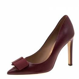 Salvatore Ferragamo Maroon Leather Mini Bow Detail Pointed Toe Pumps Size 40.5 209774