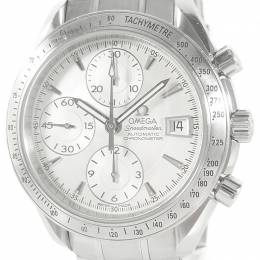 Omega White Stainless Steel Speedmaster Chronometer Date 3211.30 Men's Wristwatch 39MM 211396