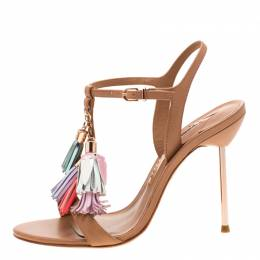 Sophia Webster Brown Leather Layla Fringe Tassel Sandals Size 37.5 210695