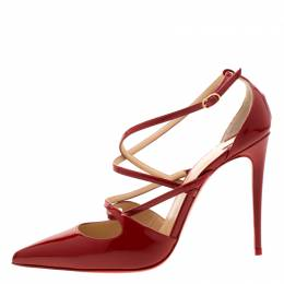 Christian Louboutin Red Patent Leather Cross Fliketa Pointed Toe Sandals Size 37.5 210365