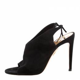 Aquazzura Black Suede Sexy Thing Open Toe Ankle Wrap Sandals Size 38 210767