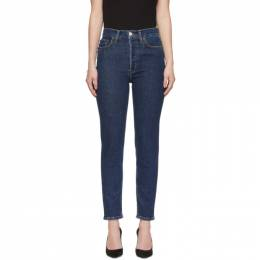 Re/Done Blue High-Rise Ankle Crop Jeans 192800F06900403GB