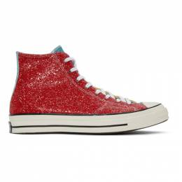 J.W. Anderson Red Converse Edition Glitter Chuck 70 High Sneakers 191477M23602013GB