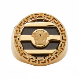 Versace Gold and Black 3D Greek Key Medusa Ring 192404M14701702GB