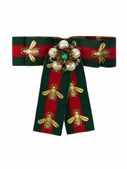 Gucci - green and red Web ribbon brooch 386I3965959538830000