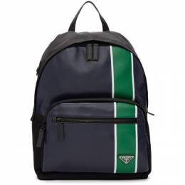 Prada Navy and Green Leather Backpack 192962M16600901GB