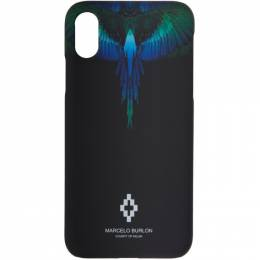 Marcelo Burlon County Of Milan Black and Blue Wings iPhone X Case 192539F03200401GB