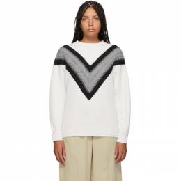 See By Chloe White and Grey Wool Cable Knit Sweater 192373F09600403GB